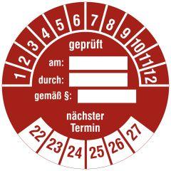 Mehrjahresprüfplakette, geprüft am - durch - gemäß § - nächster Termin, Vinylfolie, rot weiß, Ø 30 mm, 2022-2027