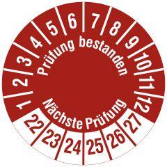 Mehrjahresprüfplakette, Prüfung bestanden / Nächste Prüfung, Polyethylen/Dokumentenfolie, rot weiß, Ø 15 mm, 2022-2027