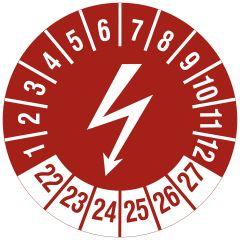 Elektro-Prüfplaketten, Vinylfolie, Blitzsymbol (Elektrogerät), rot weiß, Ø 20 mm, 2022-2027, 216 St.