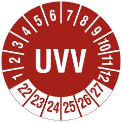 Mehrjahresprüfplakette, UVV, Polyethylen/Dokumentenfolie, rot weiß, Ø 30 mm, 2022-2027, 144 St.