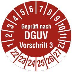 Mehrjahresprüfplakette, Geprüft nach DGUV Vorschrift 3, Polyethylen/Dokumentenfolie, rot weiß, Ø 20 mm, 2022-2027, 216 St.