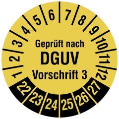 Mehrjahresprüfplakette, Geprüft nach DGUV Vorschrift 3, Vinylfolie, signalgelb schwarz, Ø 20 mm, 2022-2027, 500 St.