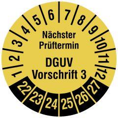 Mehrjahresprüfplakette, Nächster Prüftermin DGUV Vorschrift 3, Polyethylen/Dokumentenfolie, signalgelb schwarz, Ø 20 mm, 2022-2027, 1000 St.