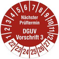 Mehrjahresprüfplakette, Nächster Prüftermin DGUV Vorschrift 3, Vinylfolie, rot weiß, Ø 15 mm, 2022-2027, 1000 St.