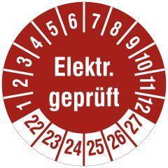 Elektro-Prüfplaketten, Vinylfolie, Elektr. geprüft, rot weiß, Ø 20 mm, 2022-2027, 216 St.
