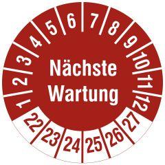 Mehrjahresprüfplakette, Nächste Wartung, Polyethylen/Dokumentenfolie, rot weiß, Ø 30 mm, 2022-2027