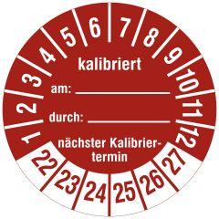 Mehrjahresprüfplakette, Kalibriert am / durch / nächster Termin, Vinylfolie, rot weiß, Ø 30 mm, 2022-2027, 144 St.