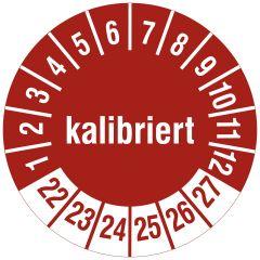 Mehrjahresprüfplakette, kalibriert, Polyethylen/Dokumentenfolie, rot weiß, Ø 15 mm, 2022-2027, 240 St.
