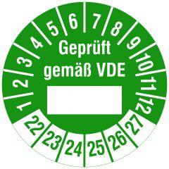 Elektro-Prüfplaketten, Polyethylen/Dokumentenfolie, Geprüft gemäß VDE - durch, grün weiß, Ø 20 mm, 2022-2027, 216 St.