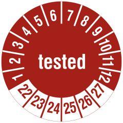 Mehrjahresprüfplakette, tested, Vinylfolie, rot weiß, Ø 20 mm, 2022-2027, 216 St.