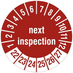 Mehrjahresprüfplakette, next inspection, Polyethylen/Dokumentenfolie, rot weiß, Ø 15 mm, 2022-2027