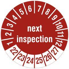 Mehrjahresprüfplakette, next inspection, Vinylfolie, rot weiß, Ø 15 mm, 2022-2027