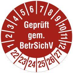 Mehrjahresprüfplakette, Geprüft gem. BetrSichV, Polyethylen/Dokumentenfolie, rot weiß, Ø 30 mm, 2022-2027, 144 St.