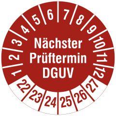 Mehrjahresprüfplakette, Nächster Prüftermin DGUV, Polyethylen/Dokumentenfolie, rot weiß, Ø 30 mm, 2022-2027, 144 St.