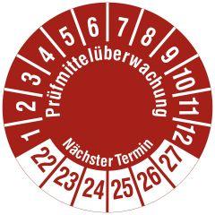 Mehrjahresprüfplakette, Prüfmittelüberwachung / Nächster Termin, Vinylfolie, rot weiß, Ø 20 mm, 2022-2027
