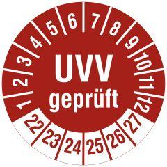 Mehrjahresprüfplakette, UVV geprüft, Polyethylen/Dokumentenfolie, weiß rot, Ø 30 mm, 2022-2027, 144 St.