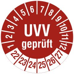 Mehrjahresprüfplakette, UVV geprüft, Vinylfolie, rot weiß, Ø 30 mm, 2022-2027, 144 St.