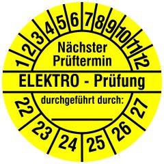 Elektro-Prüfplaketten, Vinylfolie, Elektro Prüfung/N. Prüftermin, gelb schwarz, Ø 20 mm, 2022-2027, 216 St.