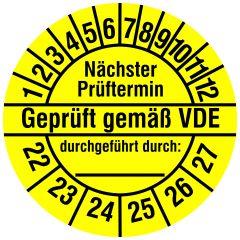 Elektro-Prüfplaketten, Vinylfolie, Geprüft gemäß VDE, gelb schwarz, Ø 20 mm, 2022-2027, 216 St.