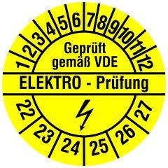 Elektro-Prüfplaketten, Vinylfolie, Elektro Prüfung, gelb schwarz, Ø 20 mm, 2022-2027, 500 St.