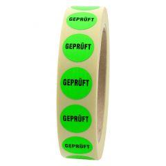 Quality Assurance, QA labels, Geprüft, paper, bright green-black, Ø 20 mm, 4000 labels