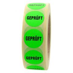 Quality Assurance, QA labels, Geprüft, paper, bright green-black, Ø 30 mm, 3000 labels