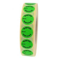 Quality Assurance, QA labels, Geprüft, paper, green-black, Ø 30 mm, 3000 labels