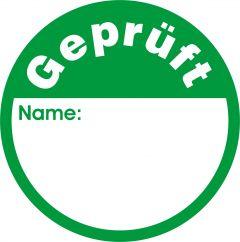 Quality Assurance, QA labels, Geprüft, polypropylene, white-green, Ø 30 mm, 144 labels
