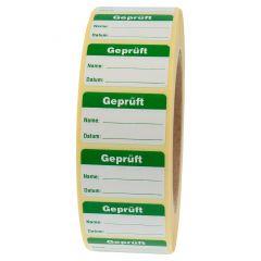 Qualitätssicherung, Geprüft, Papier, weiß-grün, 38 x 23 mm, 2000 Etiketten
