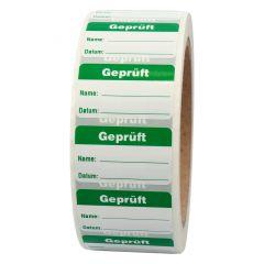 Qualitätssicherung, Geprüft, Polypropylen, weiß-grün, 38 x 23 mm, 1000 Etiketten