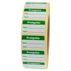 Qualitätssicherung, Freigabe, Papier, weiß-grün, 38 x 23 mm, 2000 Etiketten