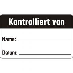 Qualitätssicherung, Kontrolliert von, Polypropylen, weiß-schwarz, 38 x 23 mm, 100 Etiketten
