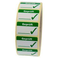 Qualitätssicherung, Geprüft, Papier, weiß-grün, 38 x 23 mm, 1000 Etiketten