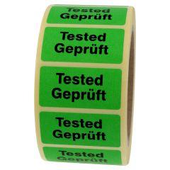 Qualitätssicherung, Tested/Geprüft, Papier, grün-schwarz, 50,8 x 25,4 mm, 1000 Etiketten