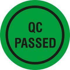 Quality Assurance, QA labels, QC PASSED, PVC/vinyl, green-black, Ø 10 mm, 10000 labels