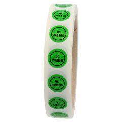 Quality Assurance, QA labels, QC PASSED, PVC/vinyl, green-black, Ø 15 mm, 1000 labels