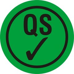 Quality Assurance, QA labels, QS, PVC/vinyl, green-black, Ø 10 mm, 10000 labels
