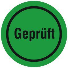 Quality Assurance, QA labels, Geprüft, PVC/vinyl, green-black, Ø 10 mm, 300 labels