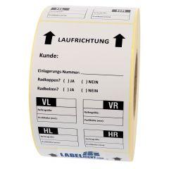 tire labels, paper, white-black, 100 x 150 mm, Einlagerungsnummer, VL, VR, HL, HR, 500 labels