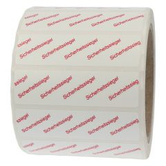 sealing label, security seals, polyethylene/tamper-proof PE, white-red, 65 x 17 mm, 1000 labels