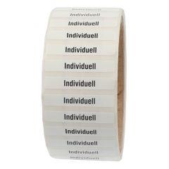 Siegeletiketten nach Kundenwunsch, PE Etiketten/Dokumentenfolie, weiß-schwarz, 38,1 x 6,35 mm, manipulationssicher