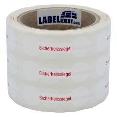 sealing label, security seals, polyethylene/tamper-proof PE, white-red, 70 x 21 mm, 1000 labels