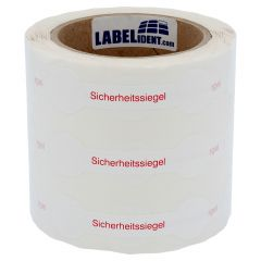 sealing label, security seals, polyethylene/tamper-proof PE, white-red, 90 x 23 mm, 1000 labels