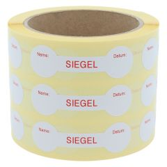 sealing label, Siegel Name Datum, paper, white-red, 70 x 21 mm, 1000 labels