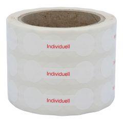 Siegeletiketten nach Kundenwunsch, PE Etiketten/Dokumentenfolie, weiß-rot, 21 x 70 mm, manipulationssicher