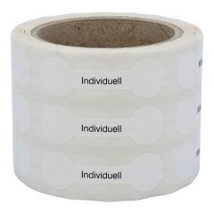 Siegeletiketten nach Kundenwunsch, PE Etiketten/Dokumentenfolie, weiß-schwarz, 21 x 70 mm, manipulationssicher