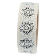 sealing label, Versiegelt, polyethylene/tamper-proof PE, white-black, Ø 30 mm, 1000 labels