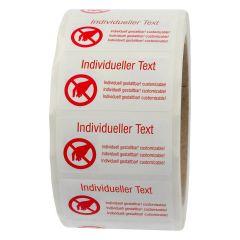 Siegeletiketten nach Kundenwunsch, PE Etiketten/Dokumentenfolie, weiß-rot, 50,8 x 25,4 mm, manipulationssicher