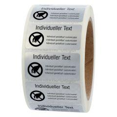 Siegeletiketten nach Kundenwunsch, Polyester Folie Checkerboard-Effekt, silber-schwarz, 50,8 x 25,4 mm, manipulationssicher