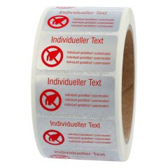 Siegeletiketten nach Kundenwunsch, Polyester Folie Checkerboard-Effekt, silber-rot, 50,8 x 25,4 mm, manipulationssicher